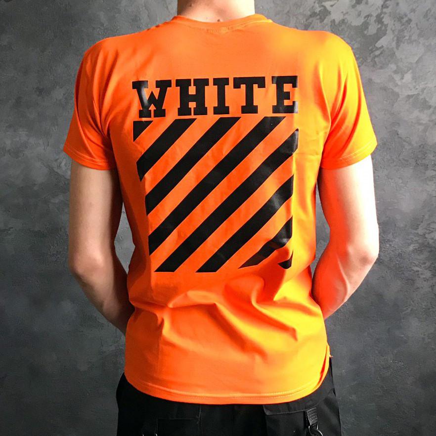 Футболка в стиле Off White полосы оранжевая