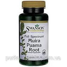 Муира Пуама, Full-Spectrum Muira Puama Root, Swanson, 400 мг, 90 капсул