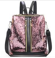 Женский рюкзак - сумка с паетками золотой