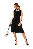 Стильное черное платье под пояс