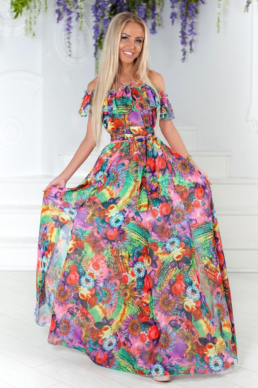 beb1b0bec9eee18 Летнее длинное шифоновое платье. Жёлто-зелёное, 2 цвета. - S&V Одежда оптом