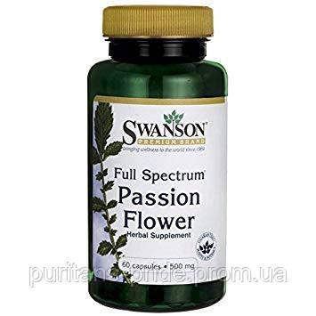 Пассифло́ра, Страстоцвет,  Swanson, Passion Flower,500 мг, 60 капсул, фото 2