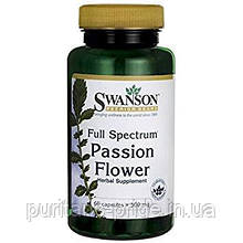 Пассифло́ра, Страстоцвет,  Swanson, Passion Flower,500 мг, 60 капсул