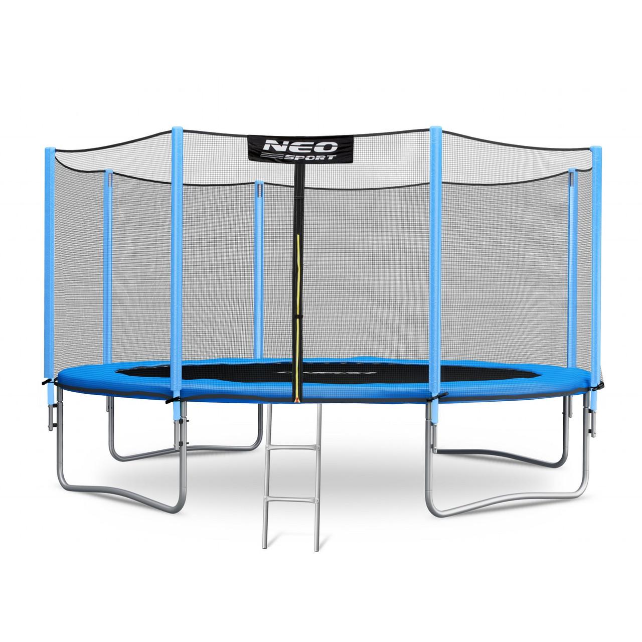 Садовый батут Neo-Sport 14ft/435 см для всей семьи с усиленной рамой внешней сеткой и лестницей