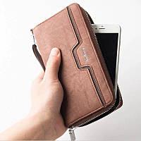 Мужской клатч кошелёк Baellerry светло-коричневый, портмоне,