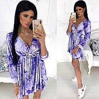 Летнее свободное платье. Фиолетовое, 3 цвета.