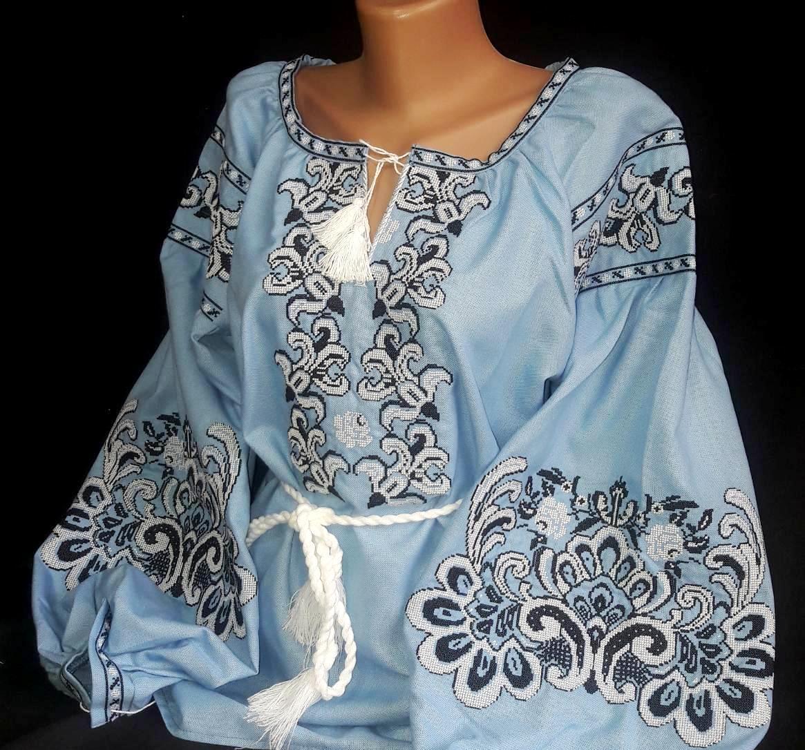 Женская блуза с вышивкой Стефания под голубой джинс Хлопок