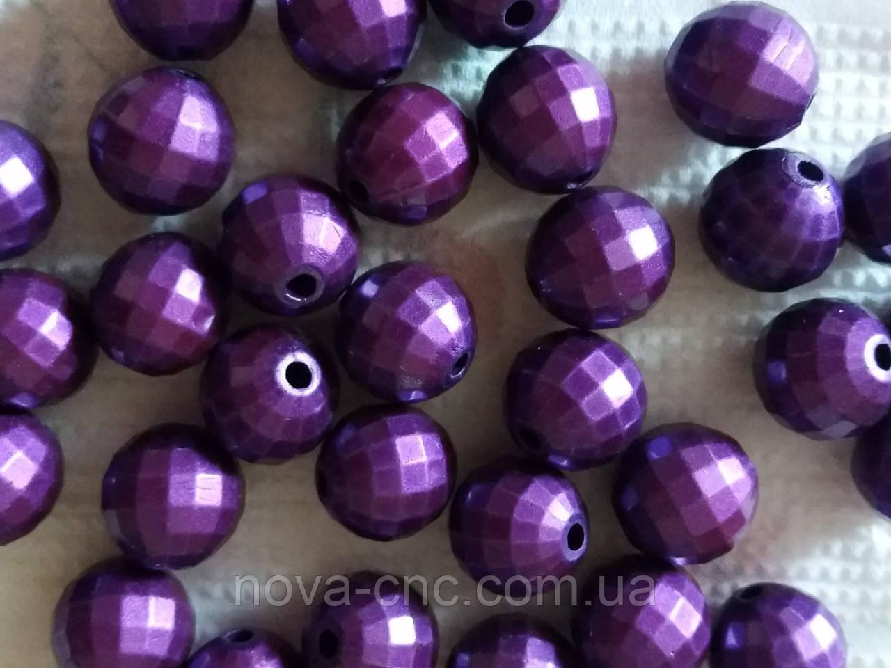 """Намистини пластик""""Диско куля"""" фіолетовий 15 мм 500 грам"""