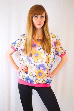 Яркая красивая стильная повседневная цветочная летняя блуза из шифона с узором ромашки, фото 2