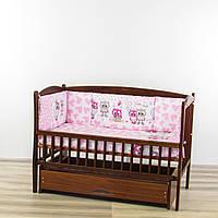 Бортики подушки в кроватку новорожденного Милые совы розового цвета