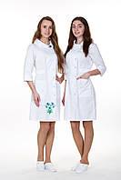 """Жіночий  медичний халат з вишивкою  """"Панянка """"  (коттон )"""