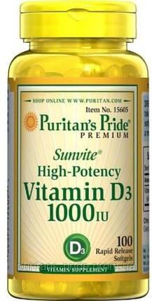 Витамин D3 для костей и зубов, Puritan's pride vitamin d3 1000 iu 100 softgels, фото 2
