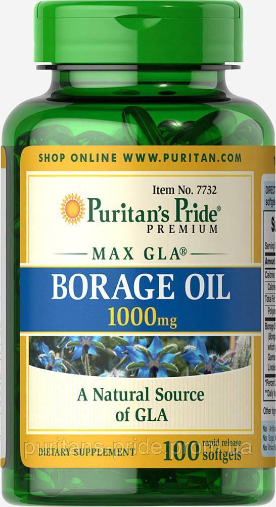 Масло огуречника, Puritan's Pride Borage Oil 1000mg 100 капсул