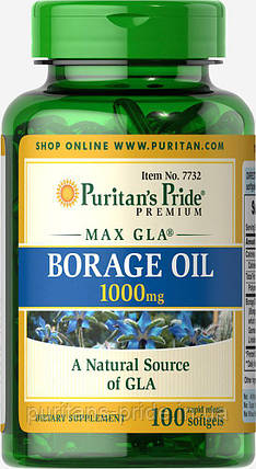 Масло огуречника, Puritan's Pride Borage Oil 1000mg 100 капсул, фото 2