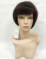 Парик женский темно-коричневый  натуральные волосы, короткая стрижка каре