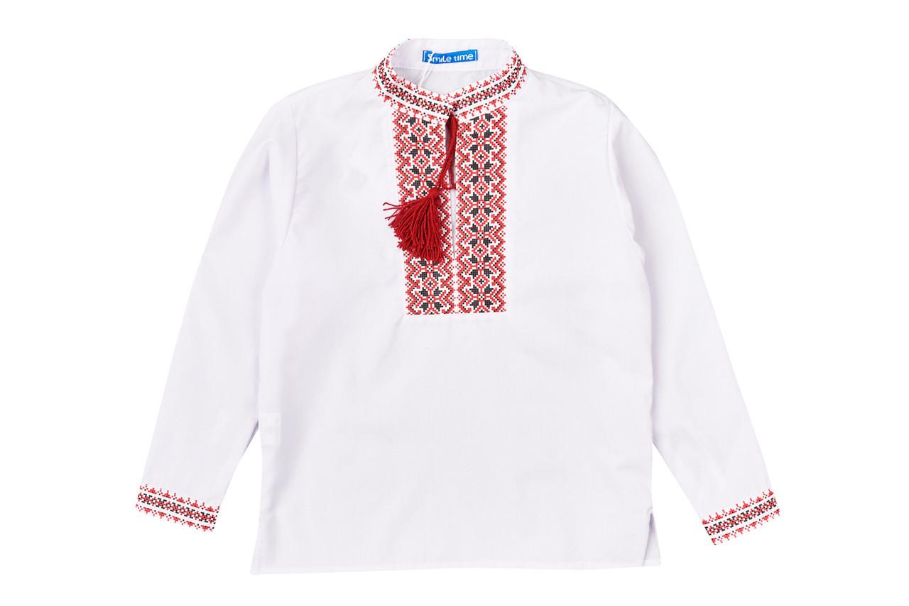 Вышиванка для мальчика с длинным рукавом, красный узор