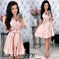 Льняное платье женское (5 цветов) - Розовый ЕФ/-397, фото 1