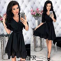 Льняное платье женское (5 цветов) - Черный ЕФ/-397, фото 1