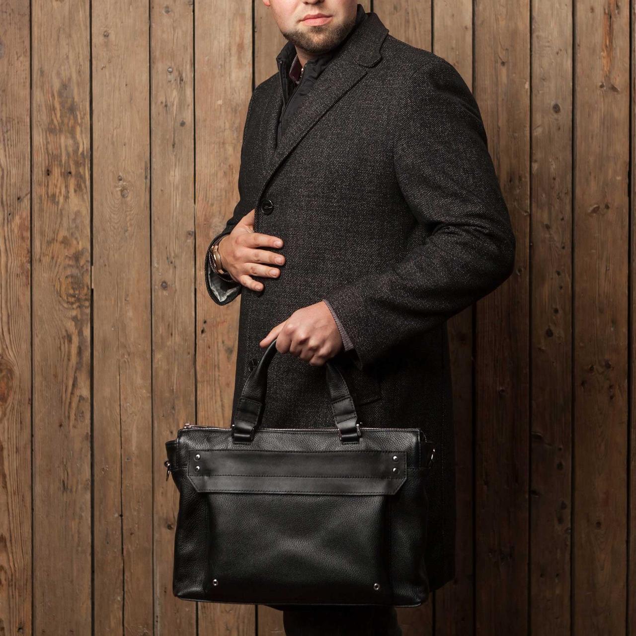 Мужская кожаная сумка (портфель) // DOCKER // Black Flotar