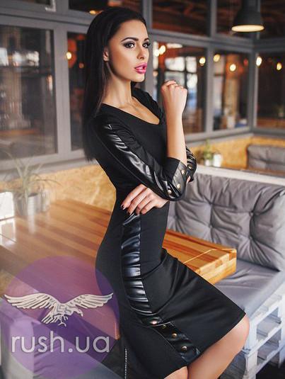 Облегающее платье с лампасами из экокожи