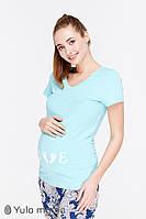Голубая красивая футболка для беременных мам S M L XL