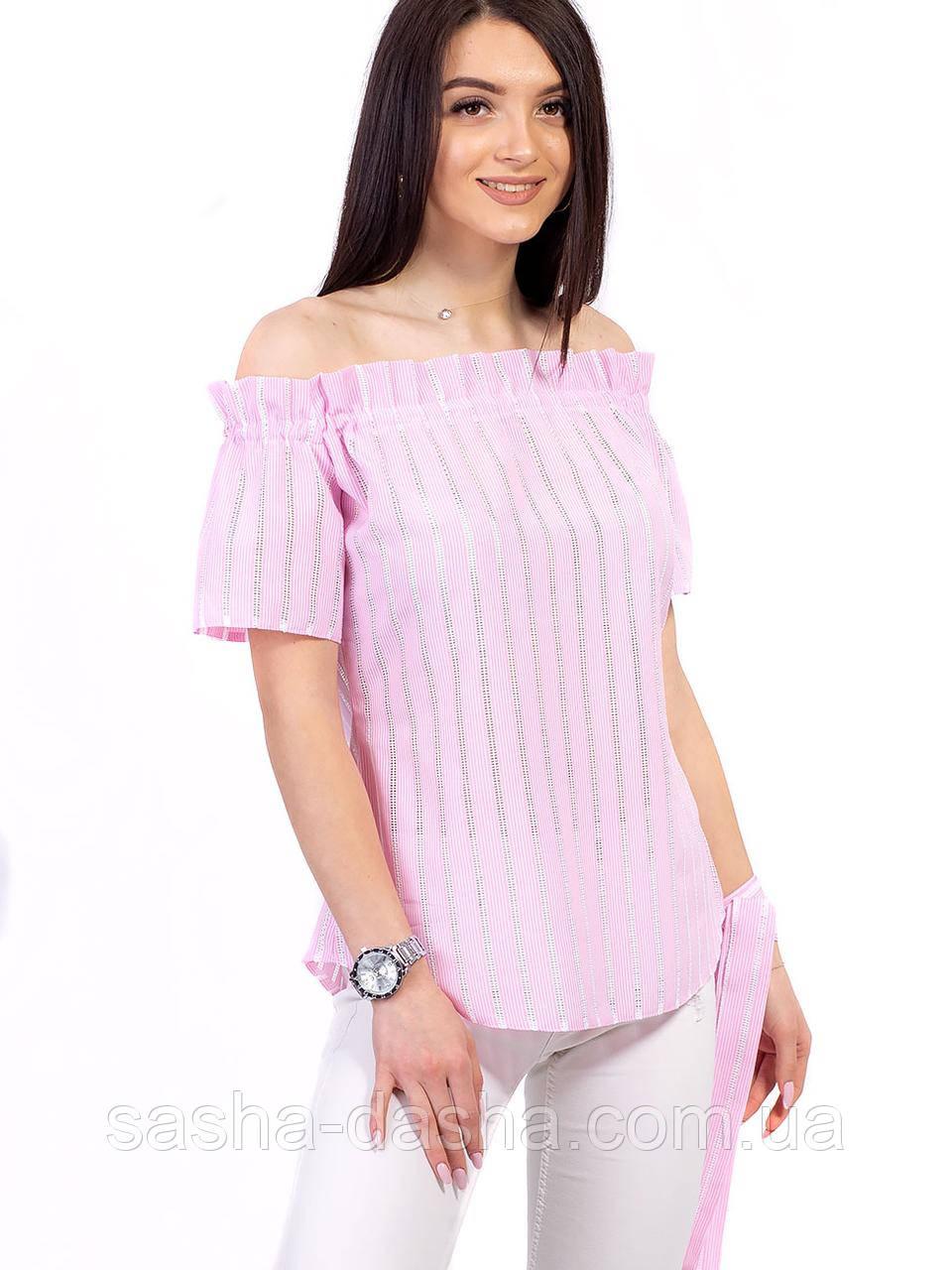 🌺 Блузка летняя хлопковая с резинкой на плечах и поясом