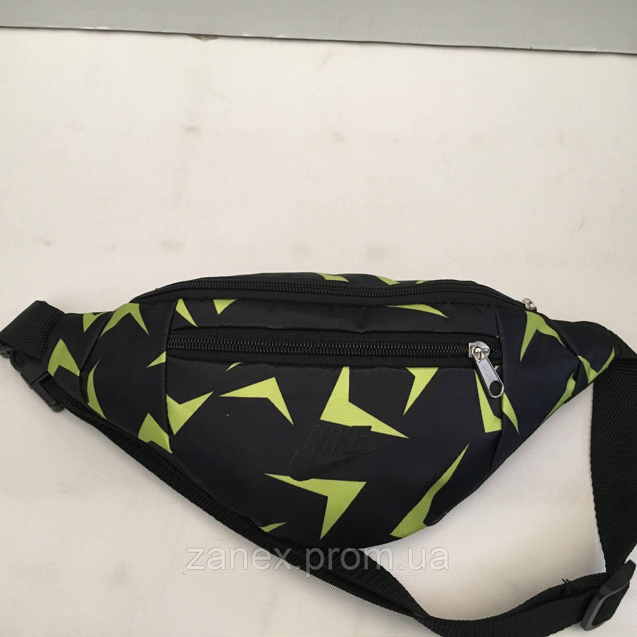 Поясная сумка черная Nike 2 отделения (Бананка, Сумка на пояс, сумка на плечо)
