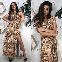 Леопардовое вечернее платье в пол, фото 1