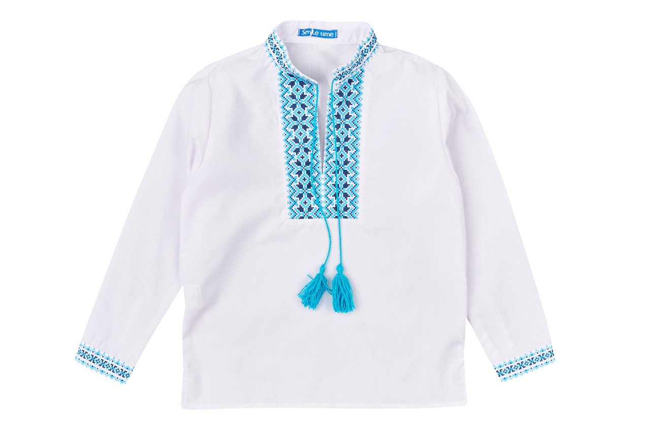 Вышиванка для мальчика с длинным рукавом, с голубым узором