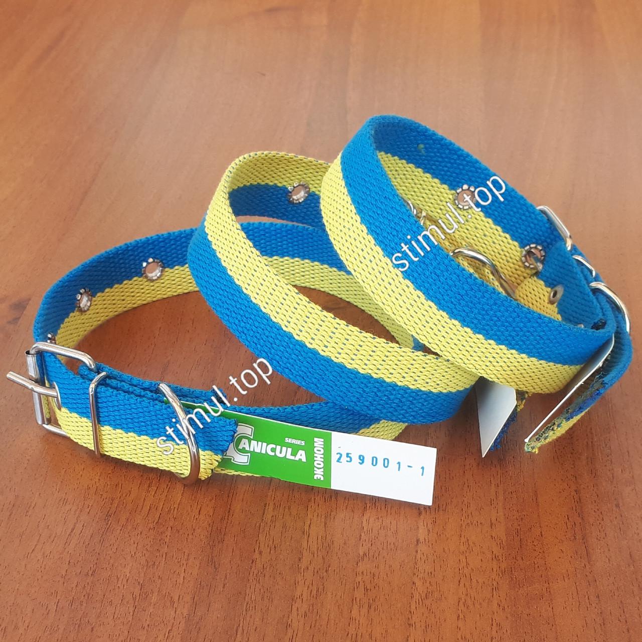 """Ошейник двойной 30 мм х 600 мм """"Патриот"""" ТМ Canicula / жёлто-голубой /двухцветный / ошийник для собак"""