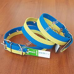 """Ошейник двойной 20 мм х 420 мм """"Патриот"""" ТМ Canicula / жёлто-голубой /двухцветный / ошийник для собак"""