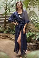 Пляжная накидка халат Туника GG длинная на завязках 10 цветов