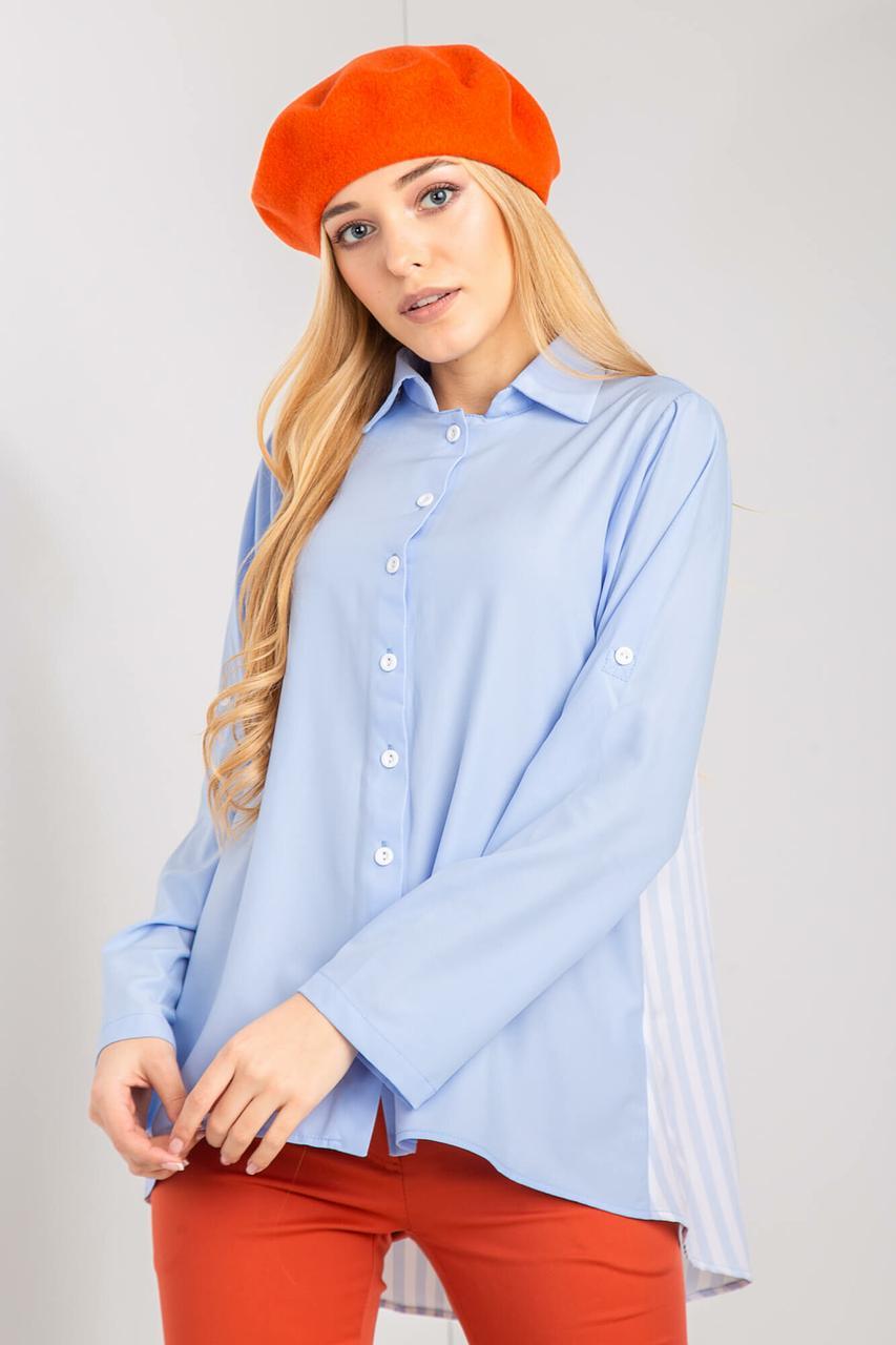 Голубая рубашка LUCIANA с удлиненной полосатой спинкой