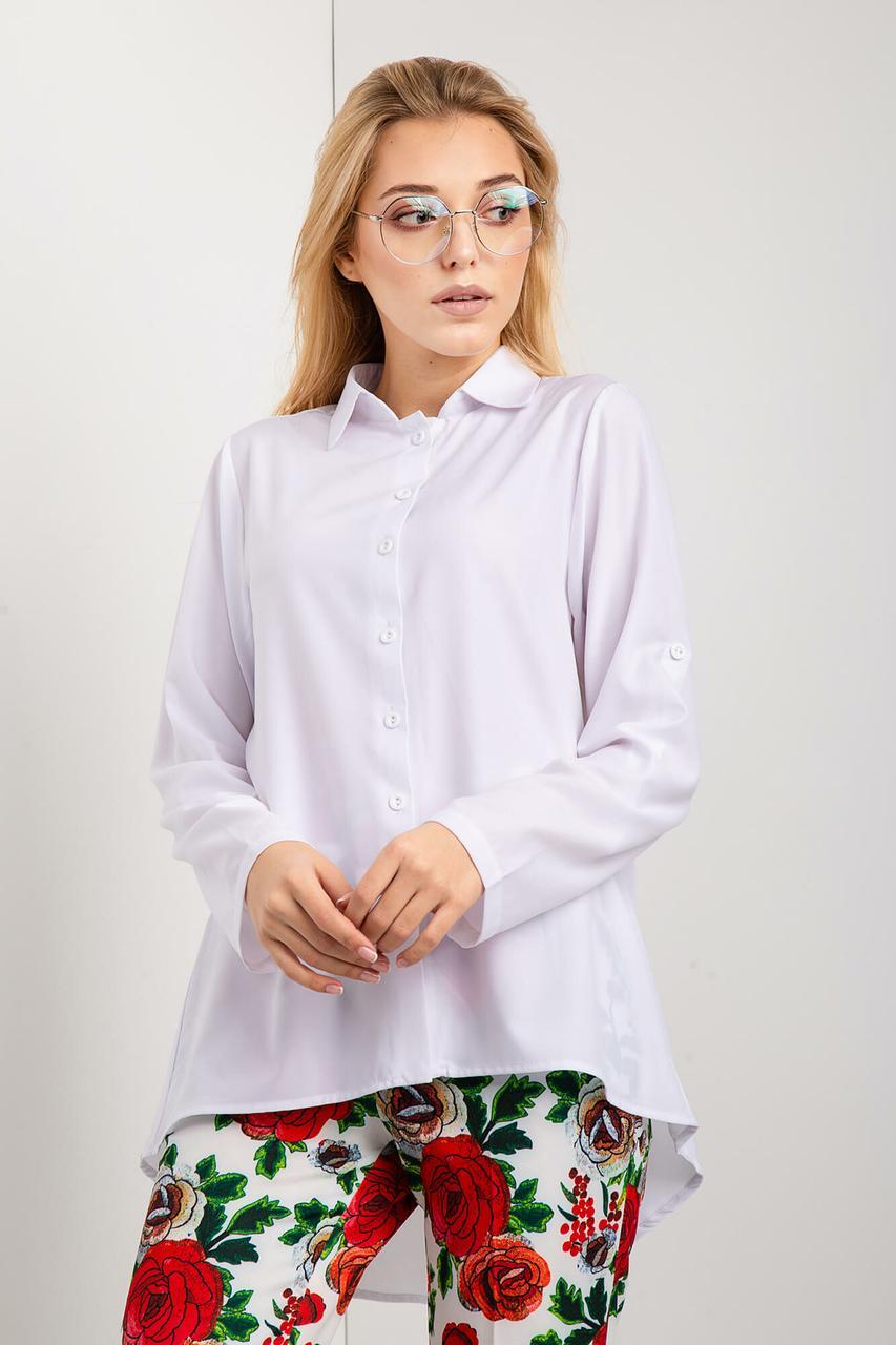 Белая рубашка LUCIANA с удлиненной спинкой Бесплатная доставка Justin