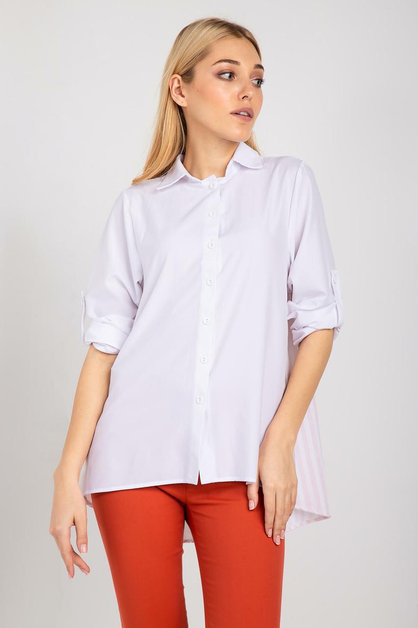 Белая рубашка LUCIANA с удлиненной полосатой спинкой