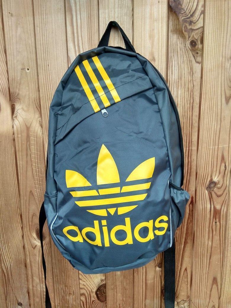 Рюкзак, Adidas очень практичный и удобный (реплика), черный с синей надписью адидас, портфель, школьн
