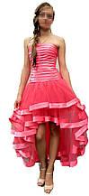 Платье женское с хвостом и открытыми плечами на выпускной от LauraStil Розовое