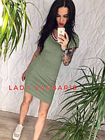 Стрейчевое женское платье на каждый день  44, олива