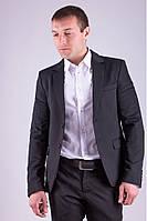Модный мужской пиджак приталенный темно-синий, черный