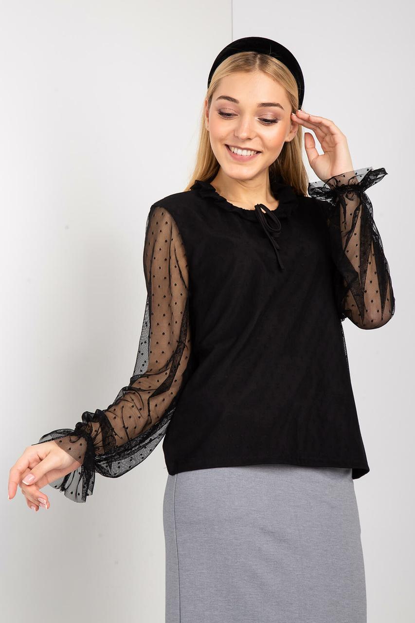 Черная нарядная блуза SNEJKA с длинными прозрачными рукавами из фатина в горошек
