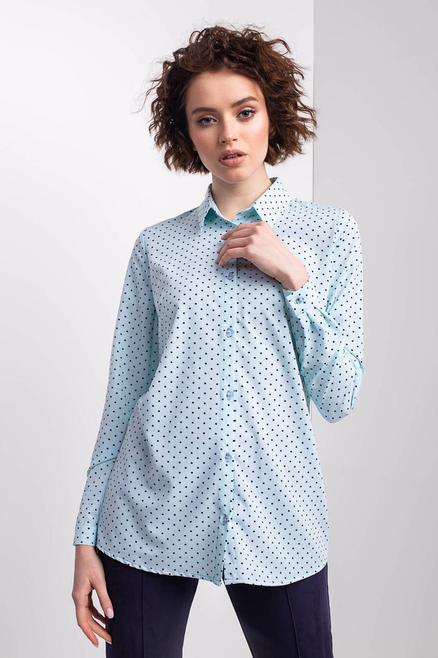 Классическая голубая рубашка PANSY в мелкий горох