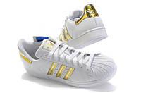 Топ женские кроссовки 2019! Кроссовки белые Adidas Superstar Gold золото!
