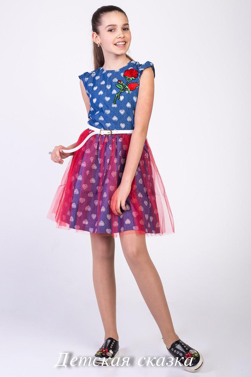 5dcd58af0b9784c Подростковое летнее платье Роза с поясом | «Детская Сказка»