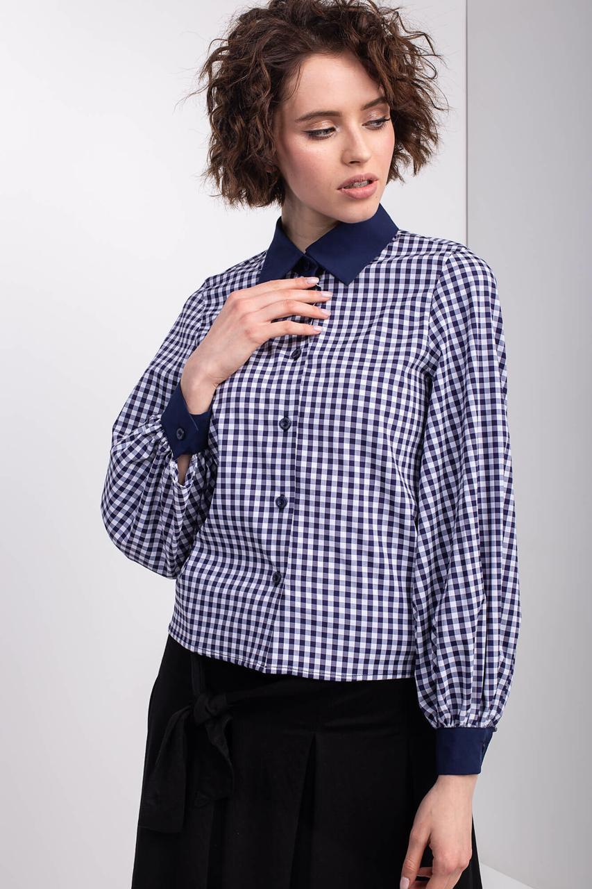 Клетчатая рубашка KLEO с отложным воротником и рукавами-буфами