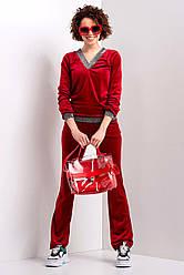 Красный бархатный костюм MICHEL с блестящей отделкой