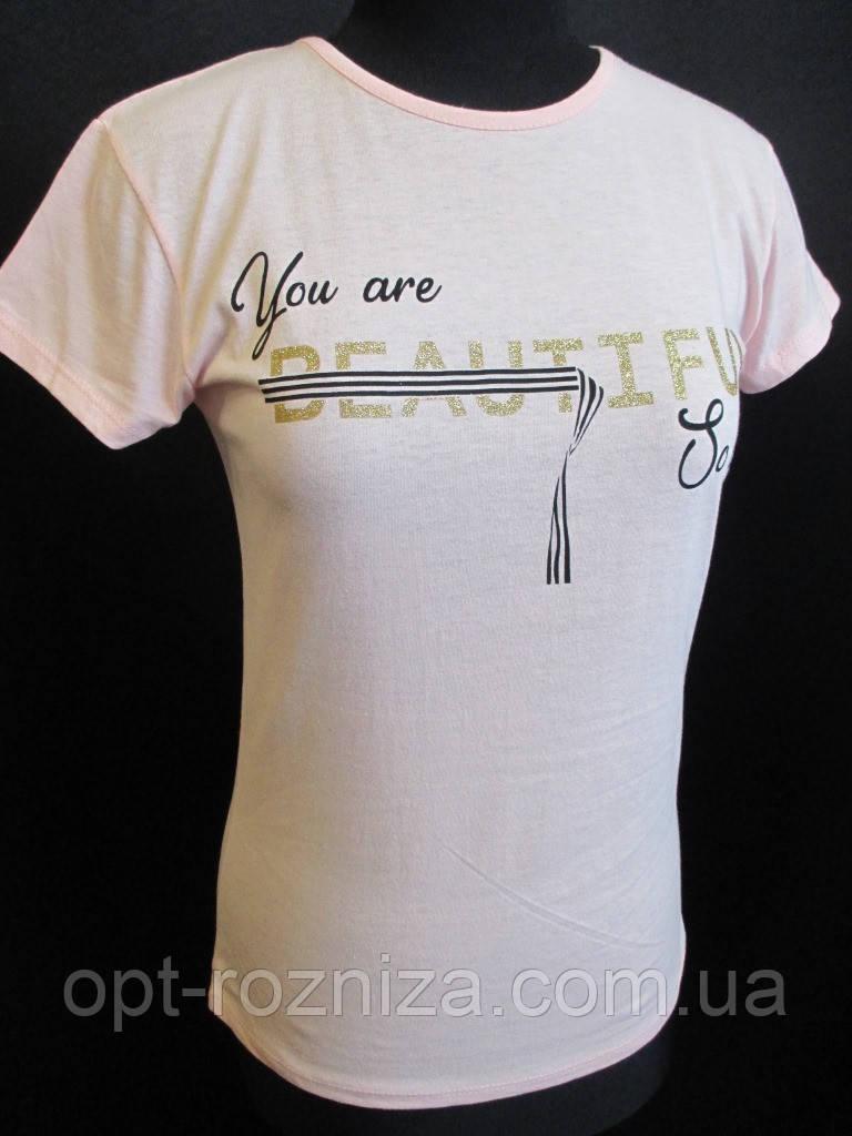 Однотонные футболки с надписью для девушек.