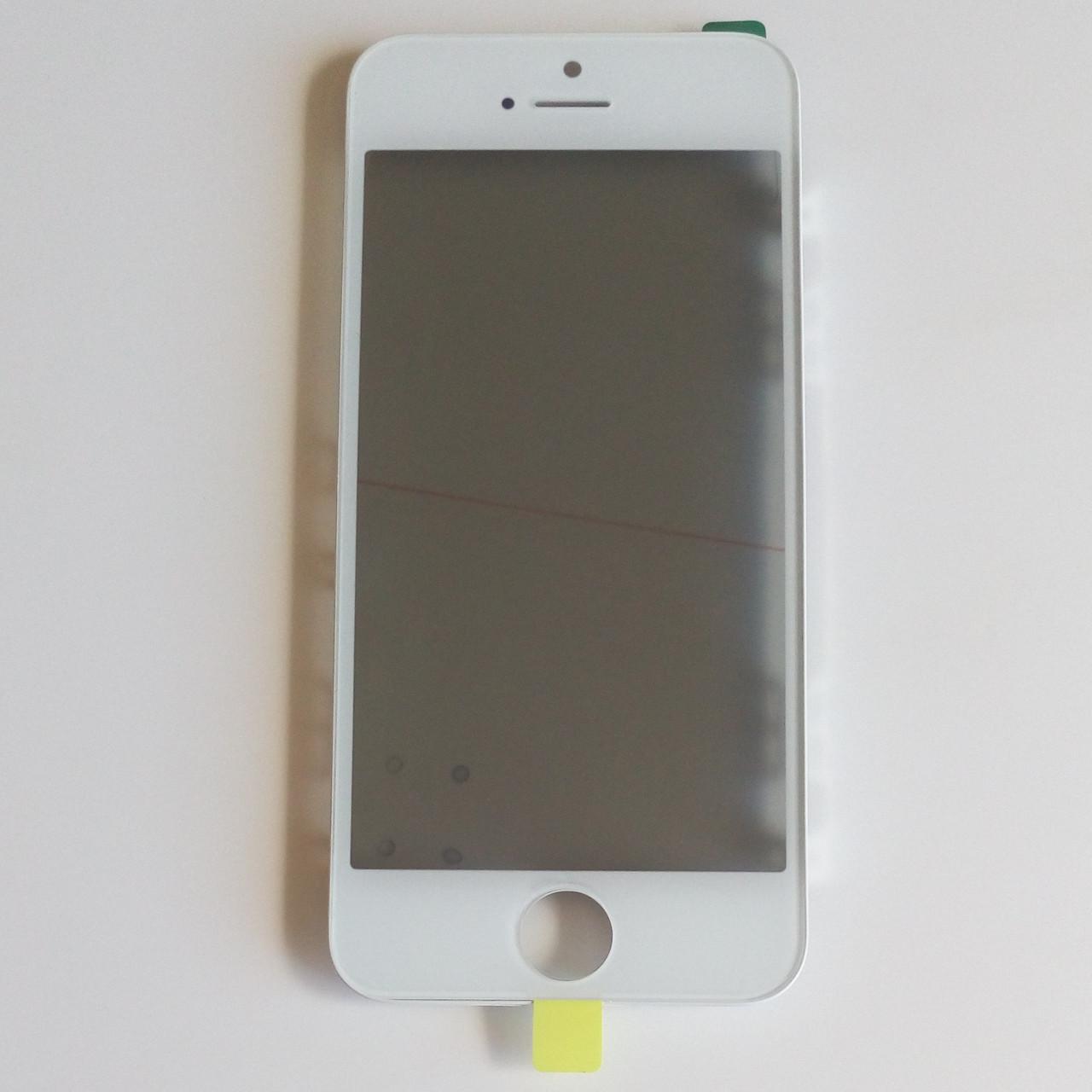 Стекло корпуса для Apple iPhone 5S с рамкой,OCA пленкой,поляризационной пленкой, белое