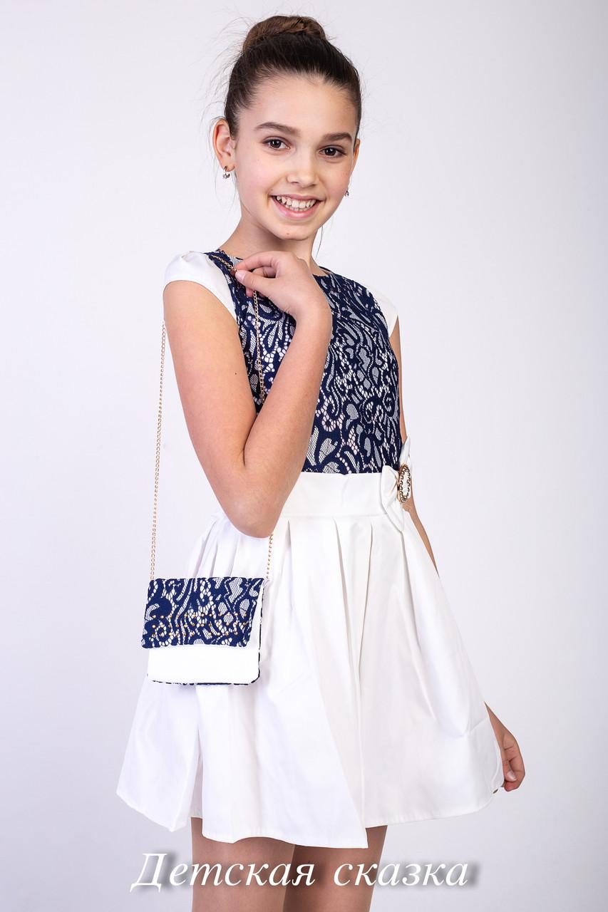 Детское платье без рукавов и с сумочкой со стразами  возраст от 6 до 9 лет