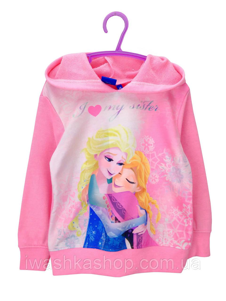 Розовая худи двунитка с Frozen на девочек 8 лет, р. 128, Disney