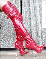 Красные лаковые ботфорты, Супервысокая шпилька 16 см